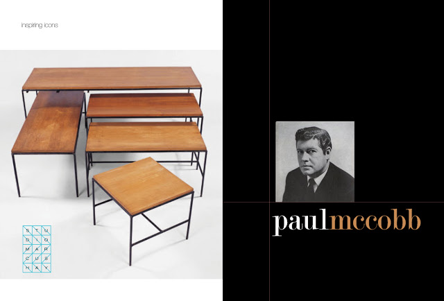 Left: Tables designed by Paul McCobb for Furnwood Corp, 1950's, Right: Portrait of Paul McCobb C1950's