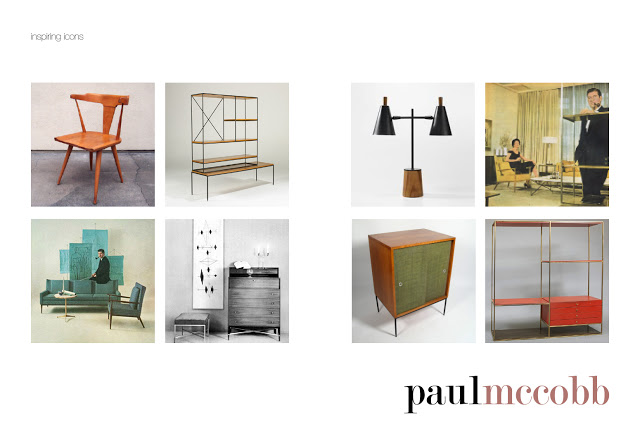 A collection of Paul McCobb designs including his famous wooden chair, cabinets, lights and sofa's