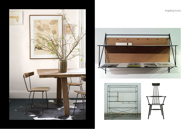 Left: Dining chair by Paul McCobb C 1950's, Right: Shelving and High back windsor chair