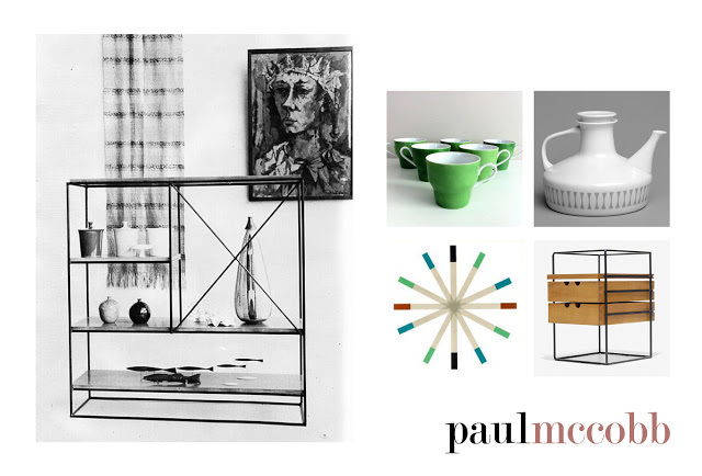 Left: Shelving system designed by Paul McCobb, C 1950's in an original photograph.   Right: Various pieces including coffee cups, teapot, tiles and office desk organiser