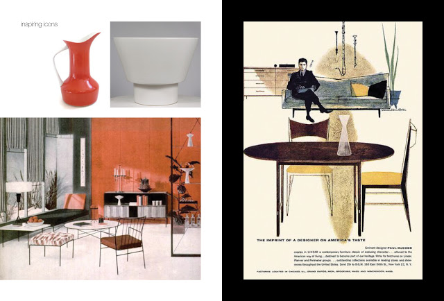 Left: Pitcher in ceramic, planter and room setting all designed by Paul McCobb,   Right: Another Advert promoting Paul Mc Cobb Designs, C 1950's