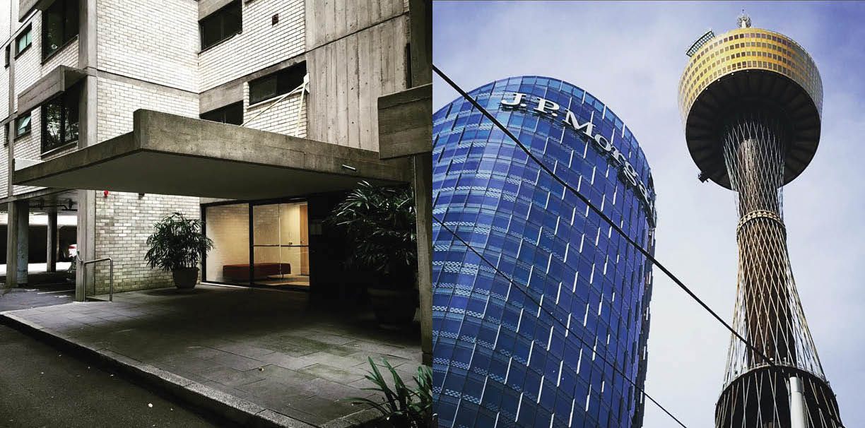 Left: Marcus's old apartment building designed by Harry Seidler, Right: Sydney buildings including Sydney Tower, 1981,Photography: Marcus Hay for SMH, Inc