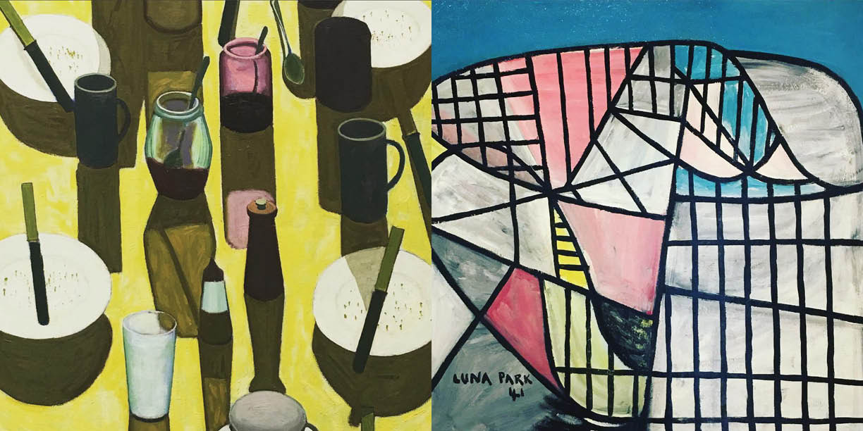 """Left: John Brack, """"The Breakfast Table"""" 1958 and Right: Sidney Nolan, """"Luna Park"""" 1941, At The AGNSW,Photography: Marcus Hay for SMH, Inc"""
