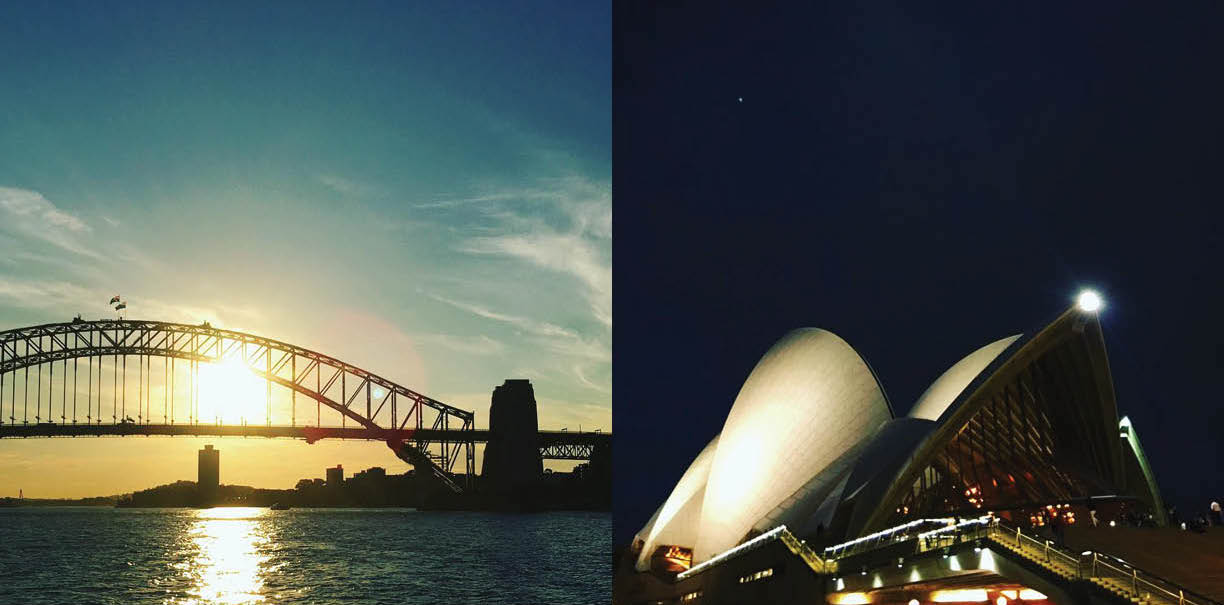 The harbor from The Manly Ferry, Left: Sydney Harbour Bridge, Right: The Sydney Opera House, designed by Jorn Utzon, 1973, Photography: Marcus Hay for SMH, Inc