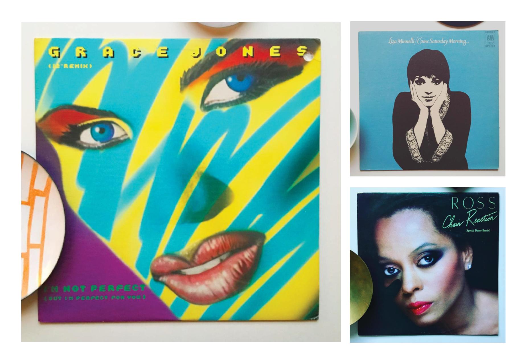 Clockwise: Grace Jones, Liza Minelli and Diana Ross