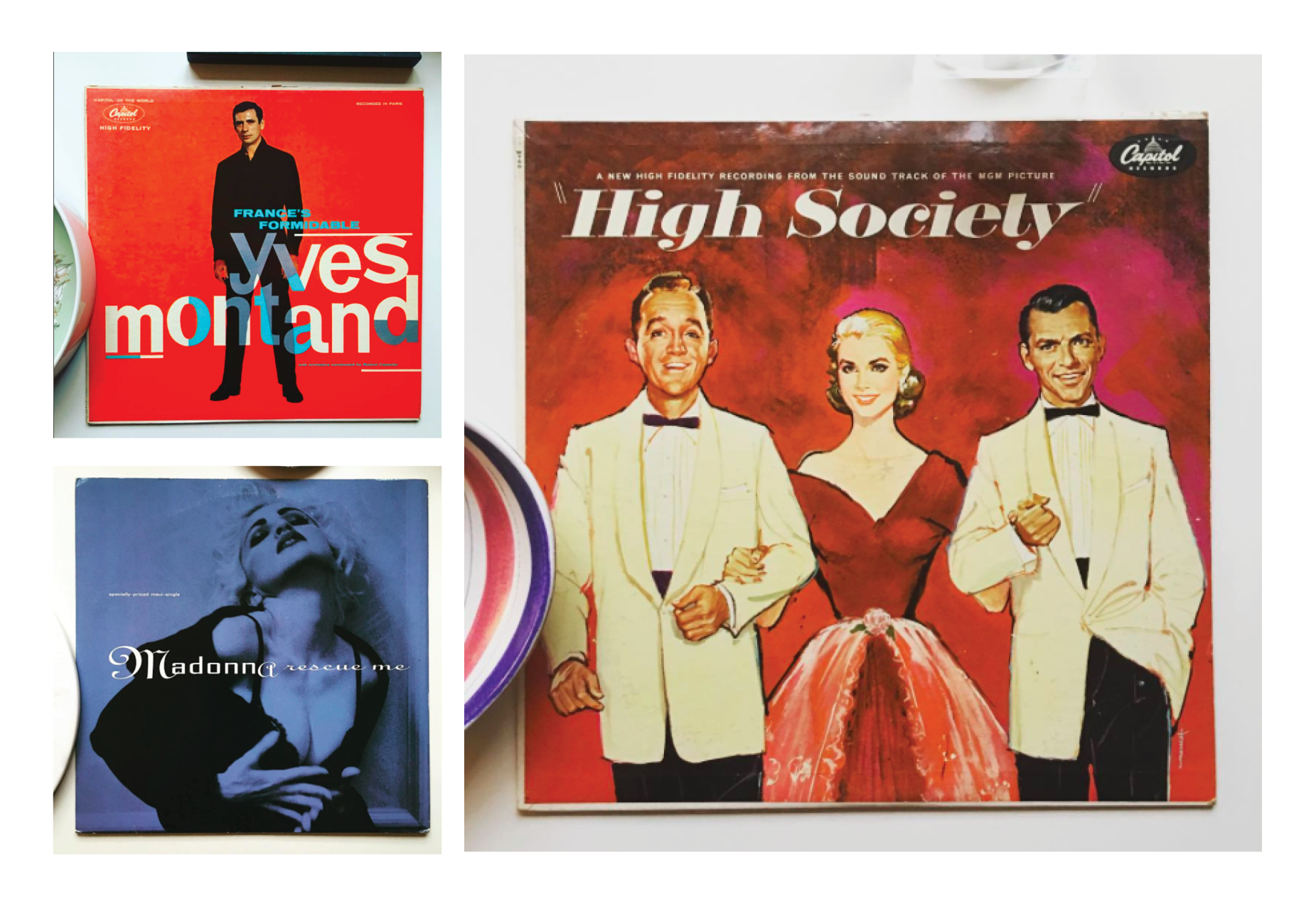 Clockwise: Yves Montand, High Society and Madonna