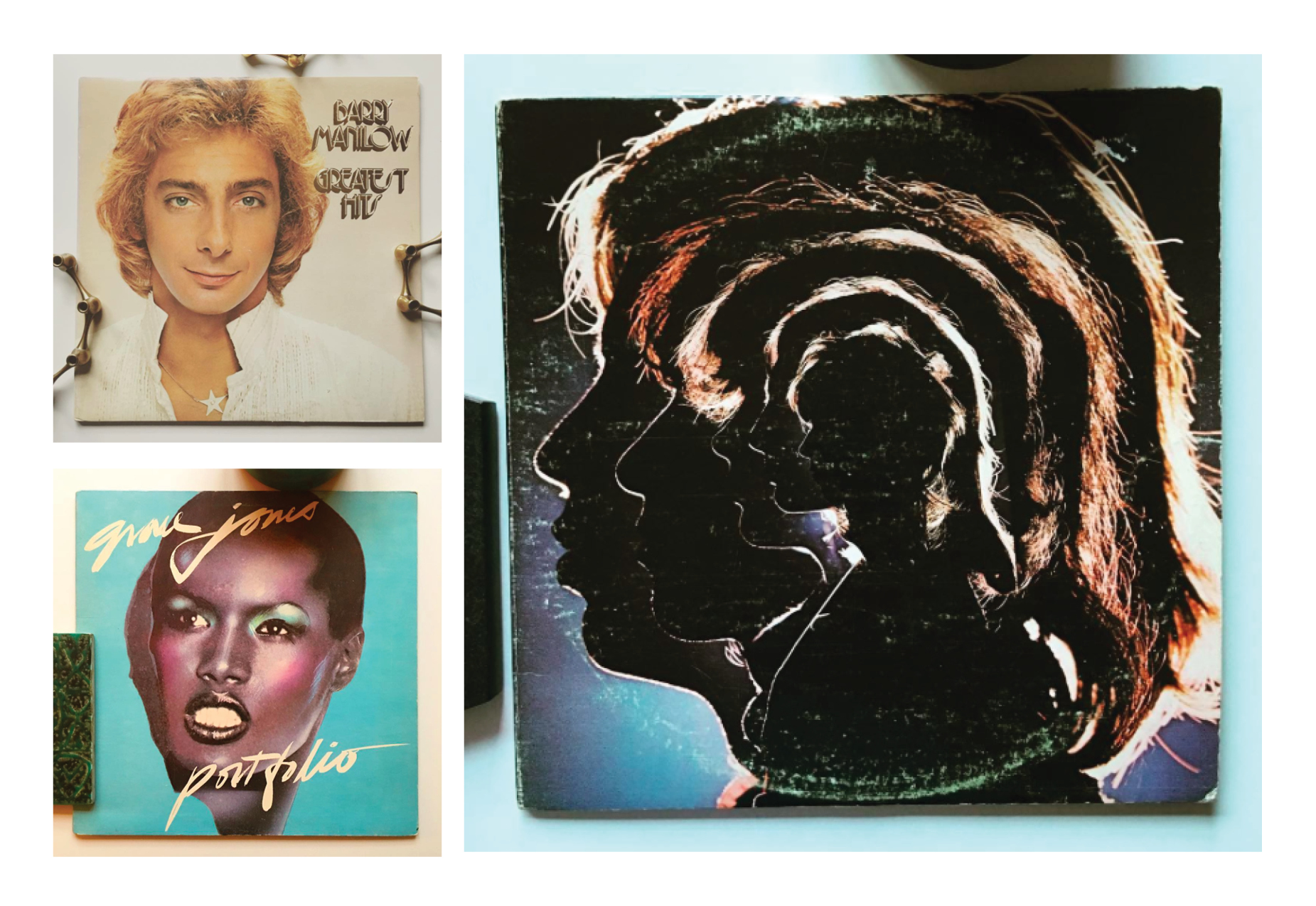 Clockwise: Barry Manilow, Grace Jones and The Rolling Stones