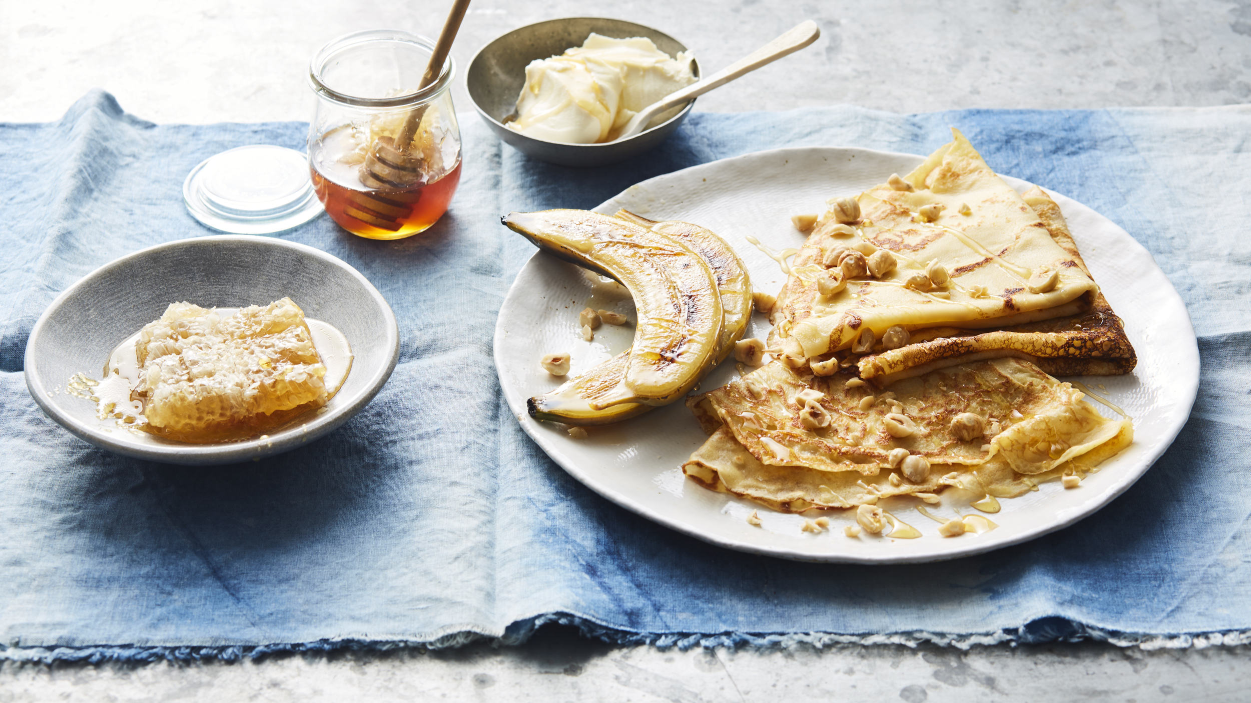 Honey crepes with caramelized banana and mascarpone,Photography: Brett Stevens, Art Direction: Anne Marie Cummins, Food & Props Styling: Marcus Hay for SMH, Inc