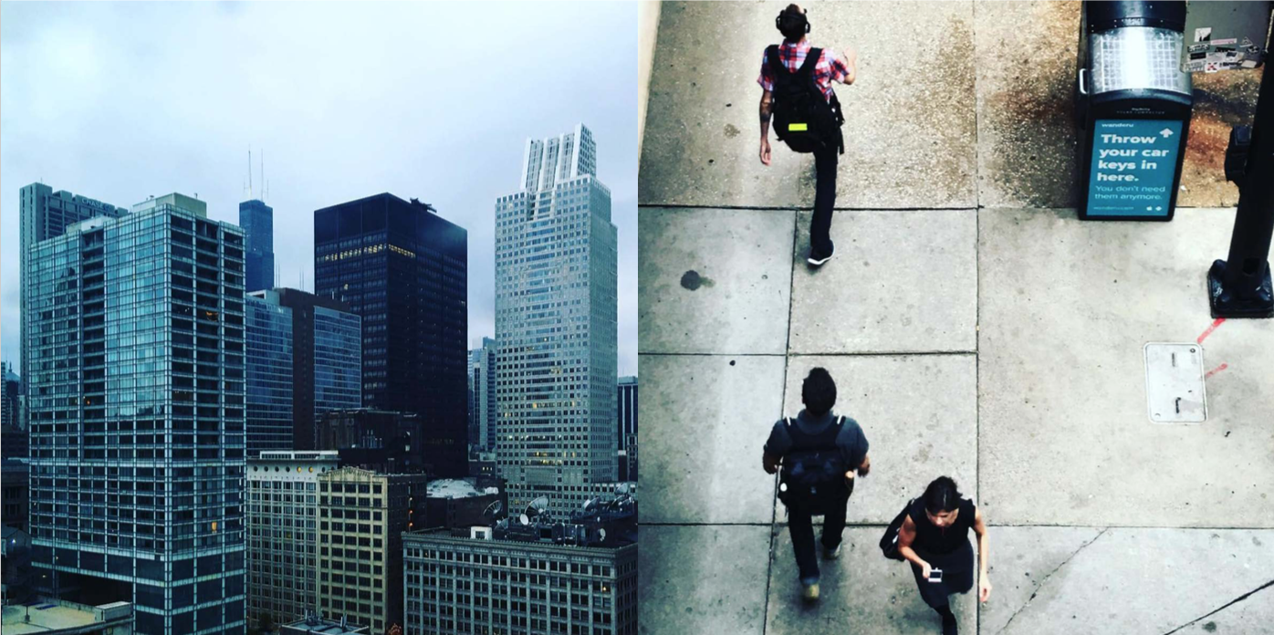 Left: The skyscrapers are amassed in Chicago, Right: The 9-5 commuters on the streets