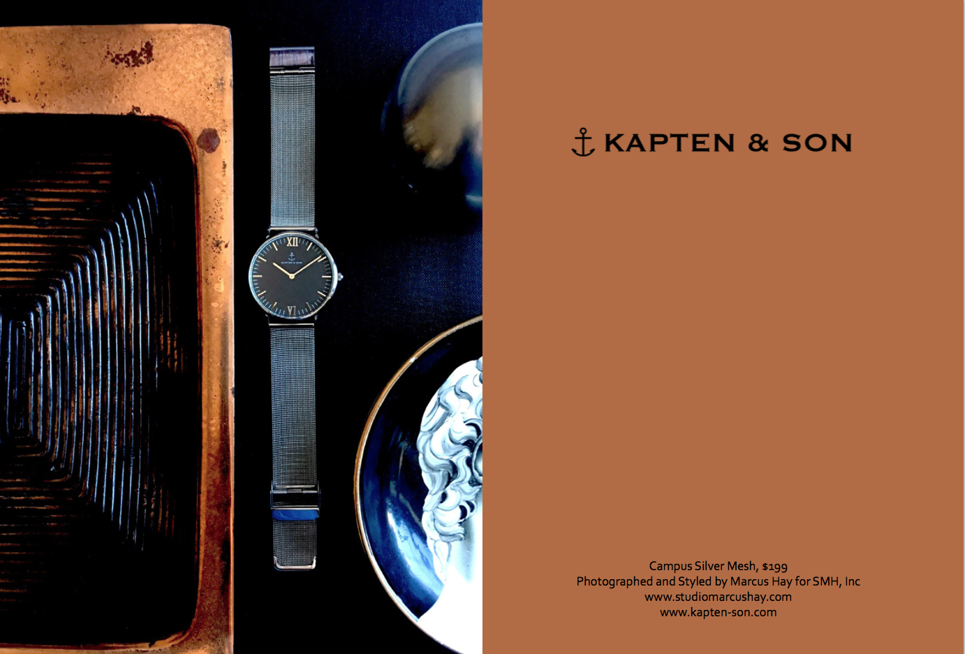 Photography & Styling: Marcus for SMH, Inc, Check out  Kapten & Son  watches here. Inspiration for the styling of this shot came from the watches sexy but understated bling. We styled this watch in a classic setting surrounded by objects of iconic design.