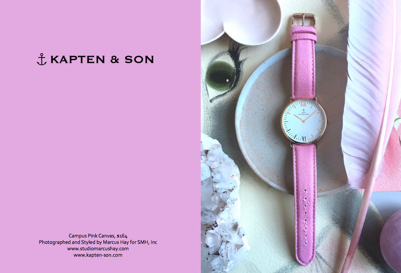 Photography & Styling: Marcus for SMH, Inc, Check out  Kapten & Son  watches here. Inspiration for the styling of this shot is the watches feminine charm, we styled this shot in pretty in pink mode surrounded be natural objects in nature.