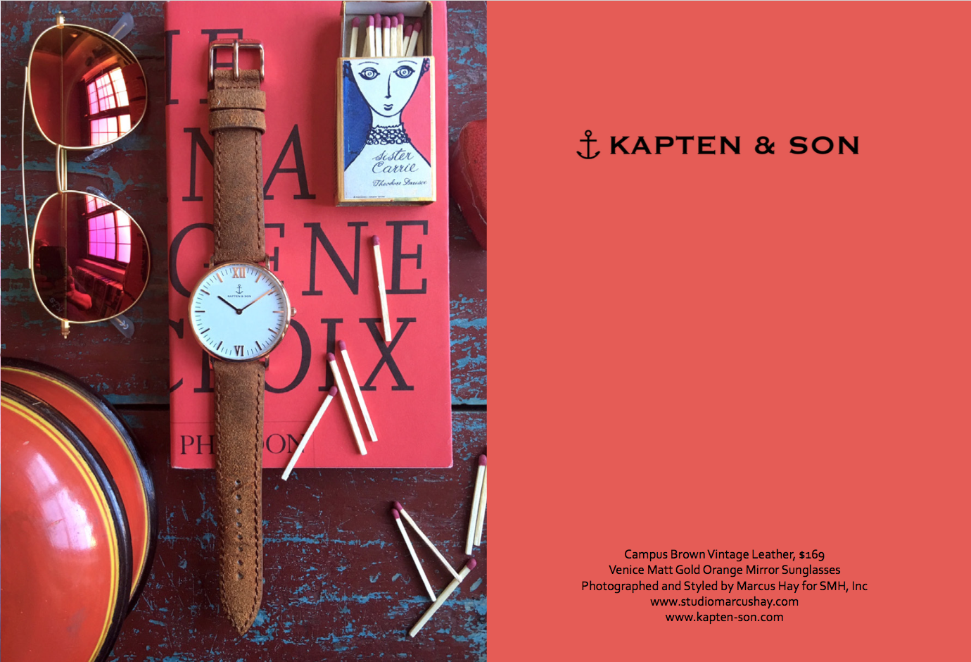 Photography & Styling: Marcus for SMH, Inc, Check out  Kapten & Son  watches here. Inspiration for the styling of this shot comes from the watches vintage leather vibe, we imagined another bygone era filled with the smell of libraries, an open fire and a good book.