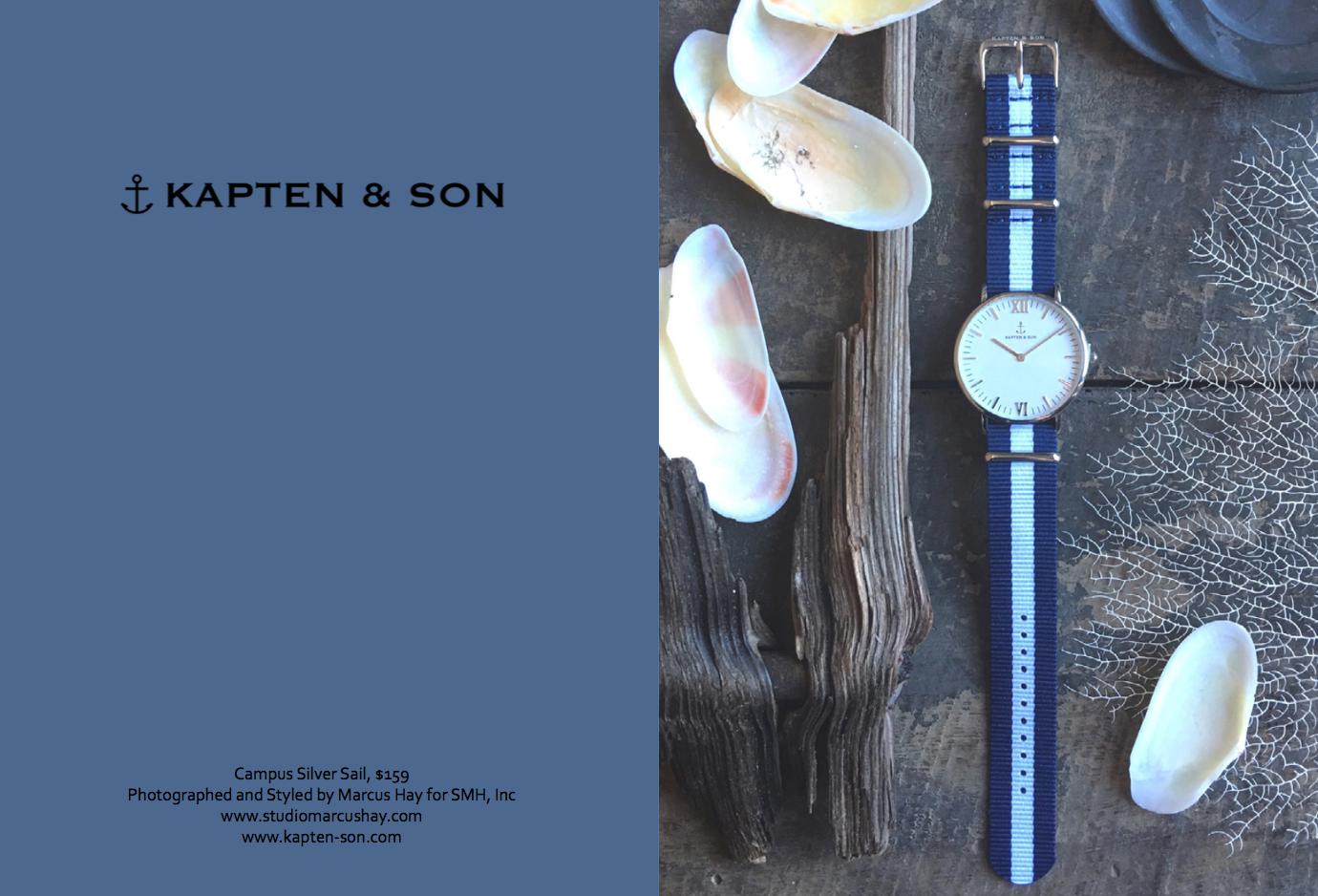 "Photography & Styling: Marcus for SMH, Inc, Check out  Kapten & Son  watches here. Inspiration for the styling of this shot was inspired by the watched nautical namesake ""Sail"" We styled it surrounded with natural objects from the sea."