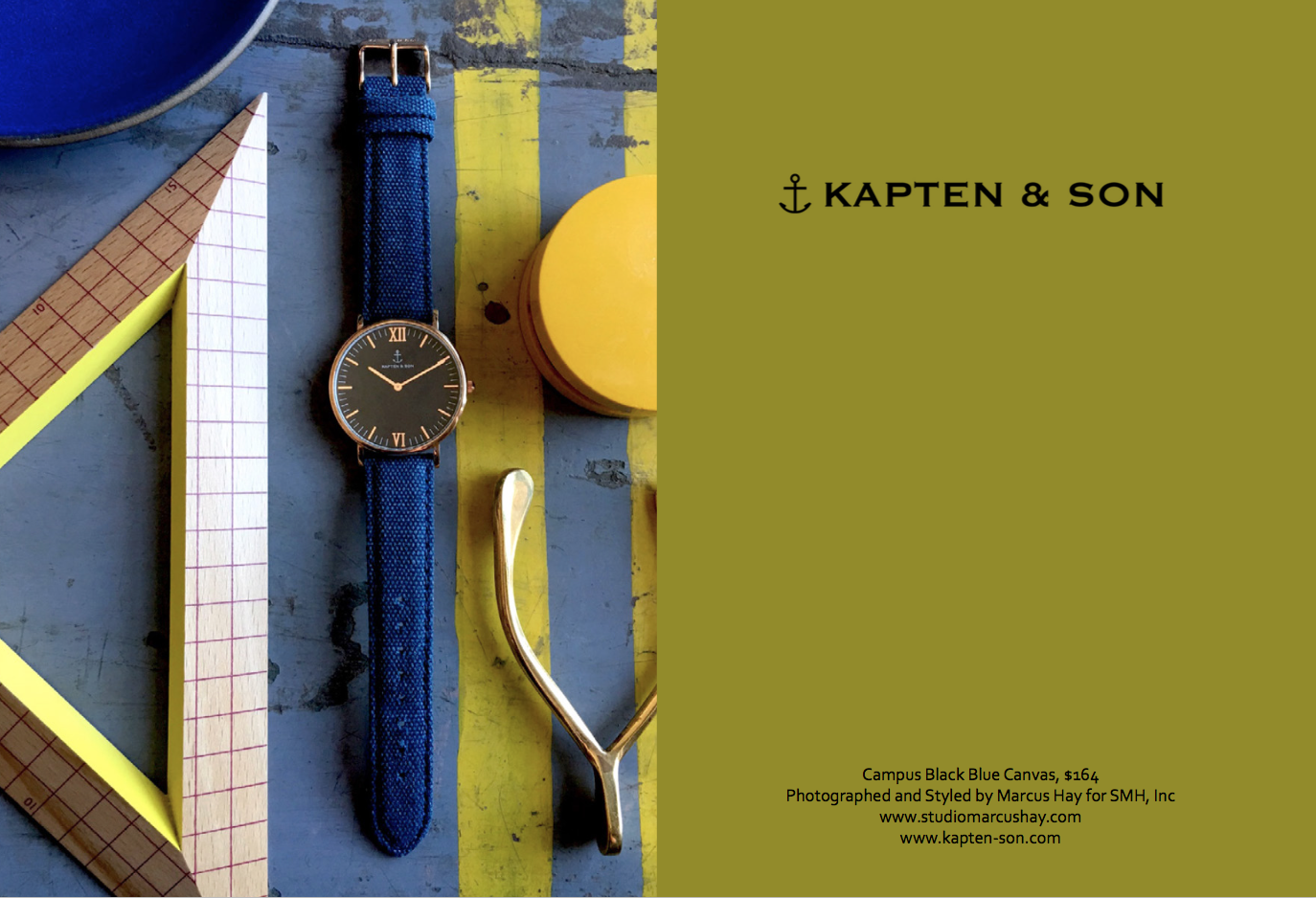 Photography & Styling: Marcus for SMH, Inc, Check out  Kapten & Son  watches here. Inspiration for the styling of this shot came from the practical no fuss nature of this blue canvas strap. Surrounded by scholarly items, it screams varsity blue.