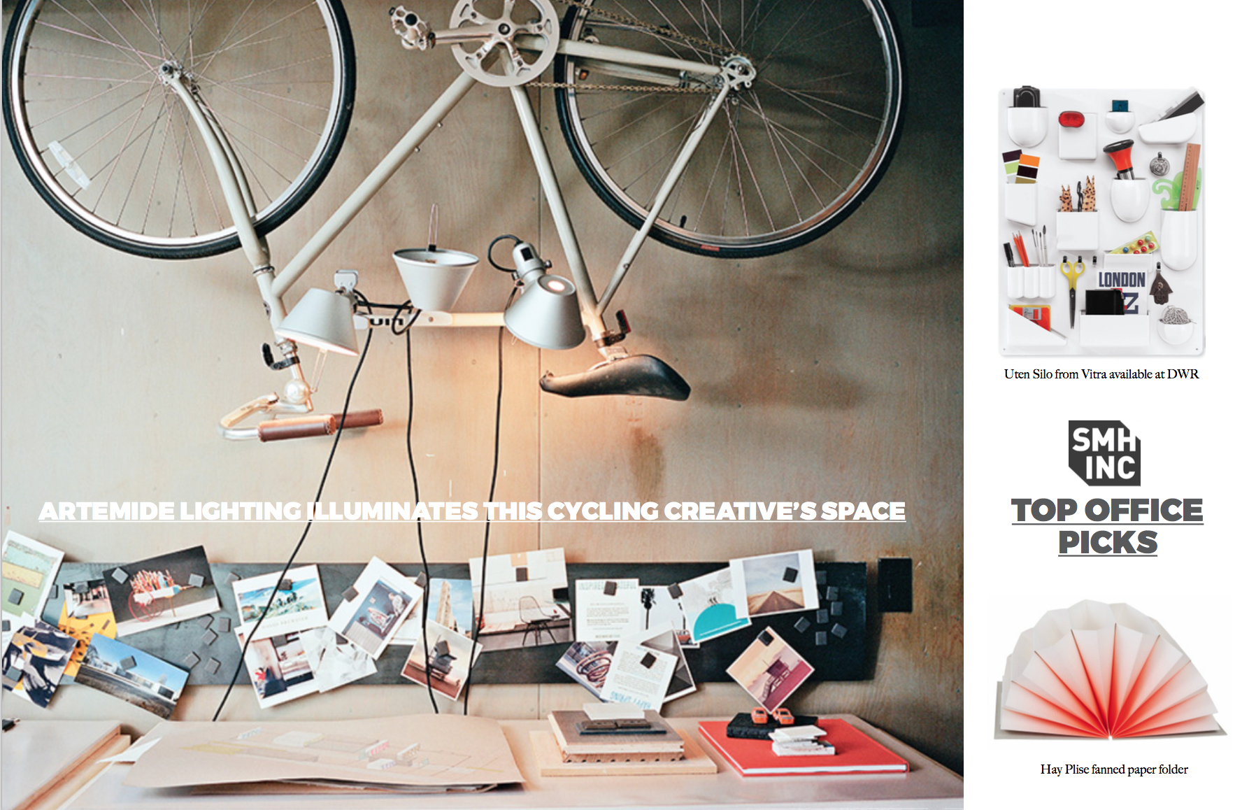 Left: Architect Brue Norelius transformed one of the bedrooms into a studio. A custom desk has a magnetic board and bike as wall art above. Right: SMH, Inc's top picks for office accessories. Images courtesy of  DWR  and  Hay . The main image appears on  www.dwell.com