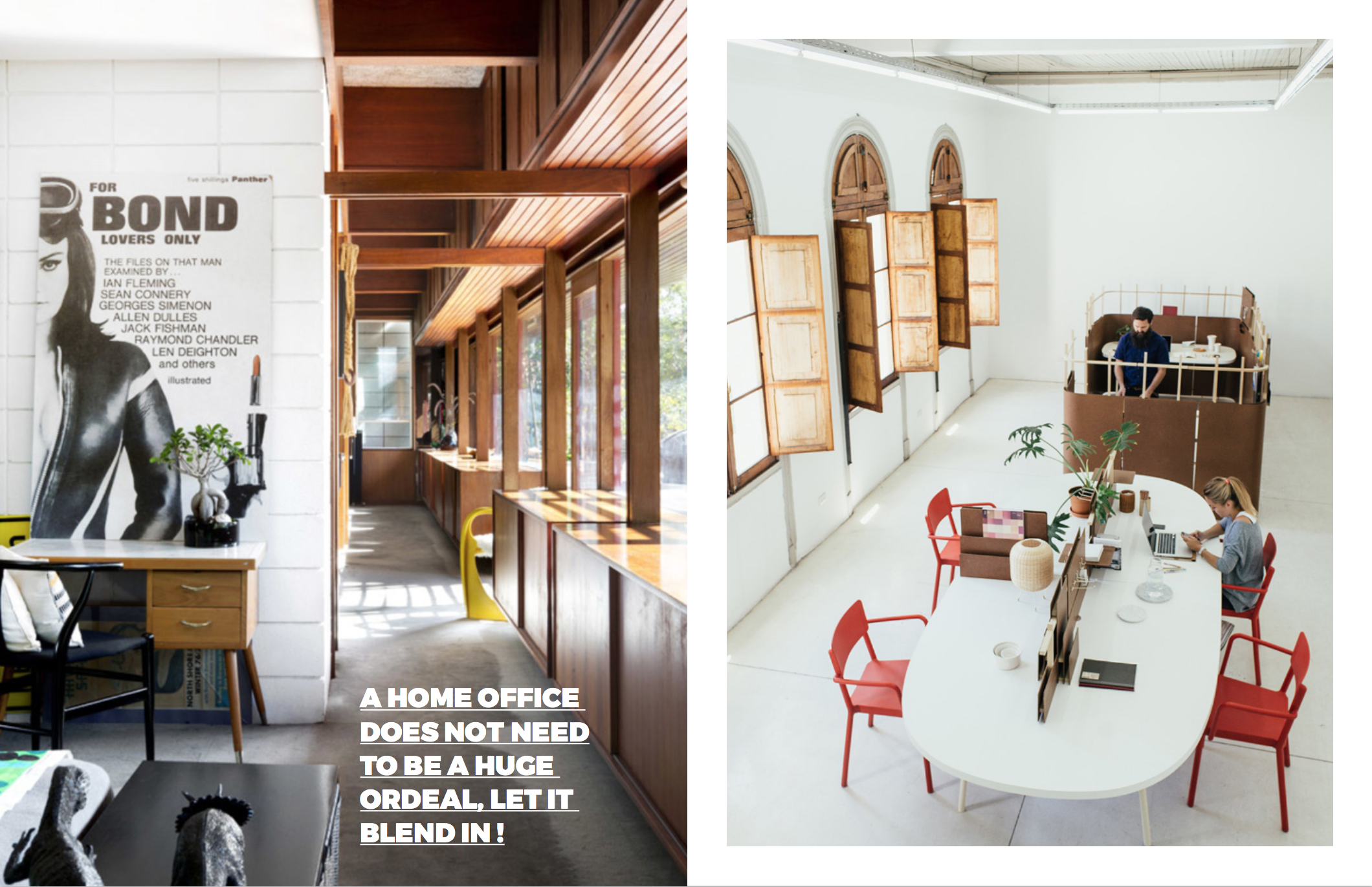 Left: The Perth Residence of Renee Coleman via  The Design Files , This office is very discreet and blends in with it's environment perfectly. Right: The office beyond the dining/ meeting area is actually made from everyday packing material like cholguan that retails for about $5 a sheet. This image originally appeared in A Good-Looking Office System on the www.dwell.com site.These images appear on  www.dwell.com