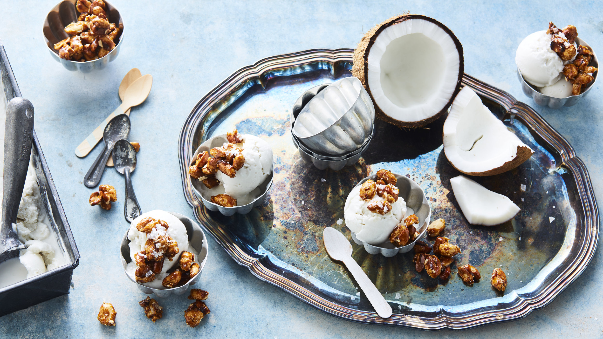 Coconut Sorbet with Salted Candied Peanuts, Photography: Brett Stevens, Art Direction: Anne Marie Cummins, Food and Props Styling: Marcus Hay