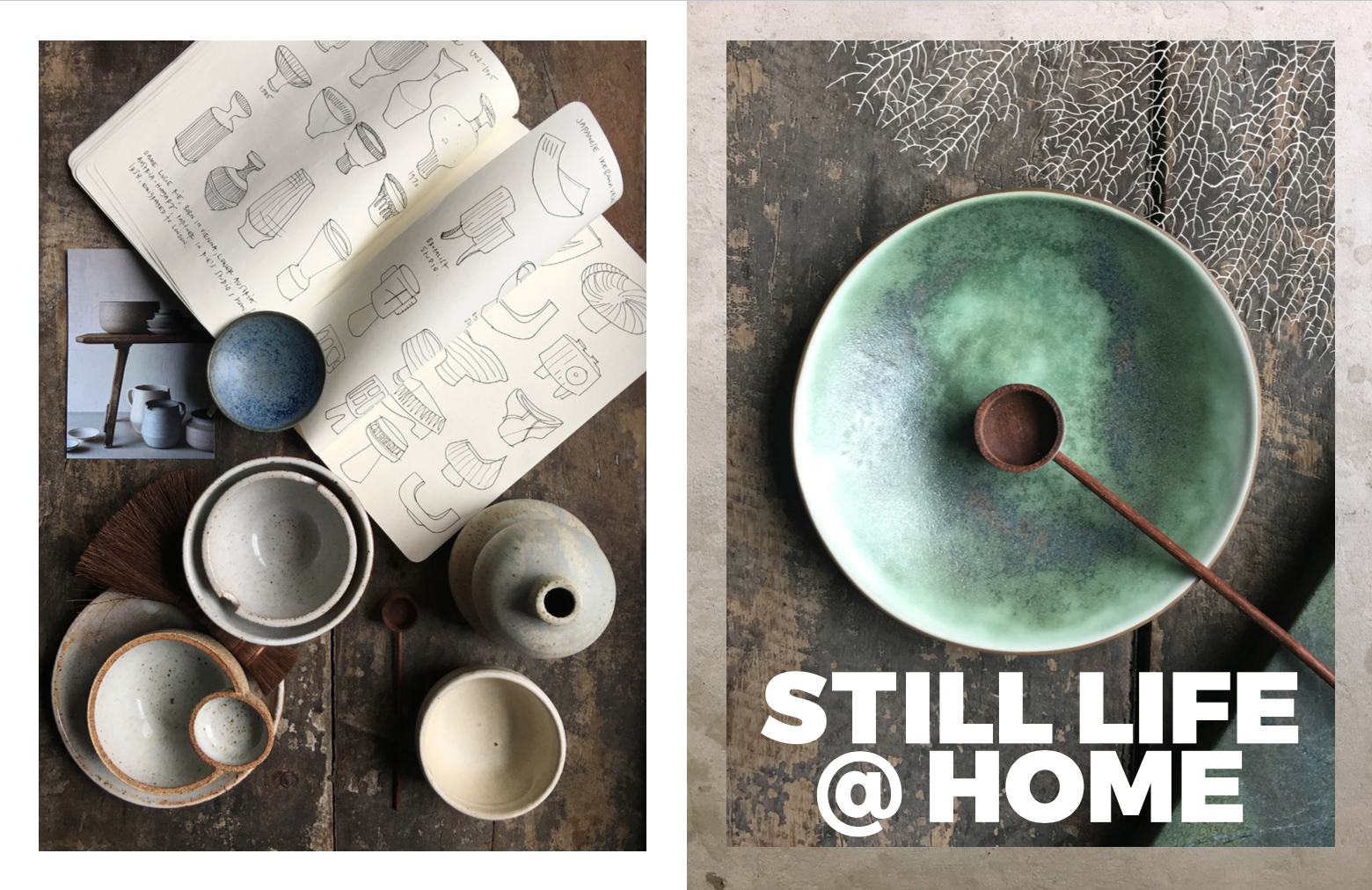 Left: My collection of neutral ceramics, largely sourced from  General Store  in San Francisco, My sketchbook with inspirations, Right: A beautiful dish given to me by  Santimetre Studio . Photography: Marcus Hay for SMH, Inc