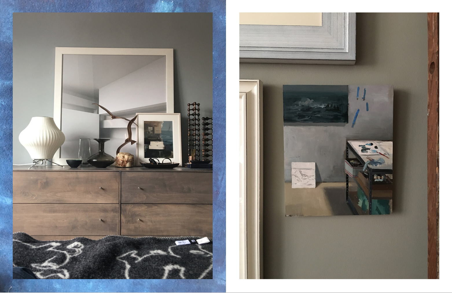 Left: My bedroom which includes a Bubble Lamp by  George Nelson , Another sculpture by  Curtis Jere , Painting by  Jeremy Miranda , Right: Another painting by artist Jeremy Miranda. Photography: Marcus Hay for SMH, Inc