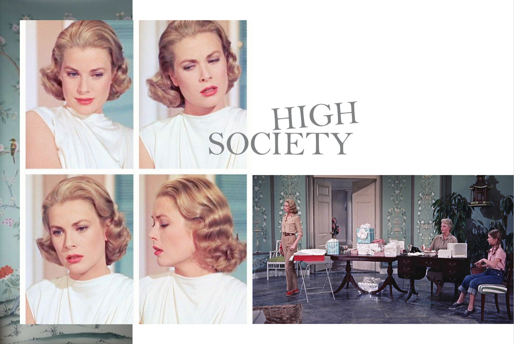 Left: Grace Kelly, Right: The color palette in this room is just so inspiring, flesh pink, dusty aqua, tiffany blue, gray concrete and tiny splash of red