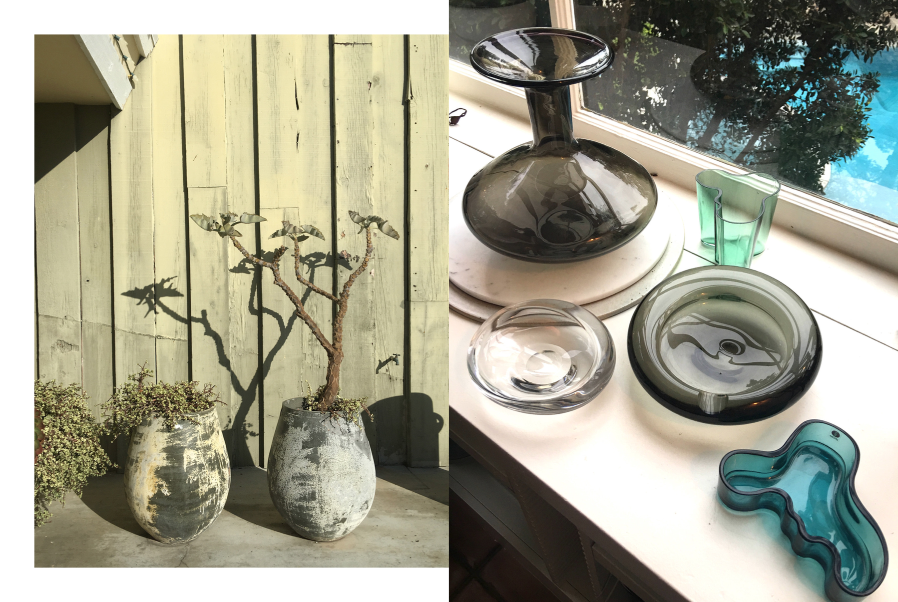Photography: Marcus Hay, Left: Potted Plants at Dana Point, Right: Poolside glassware at home