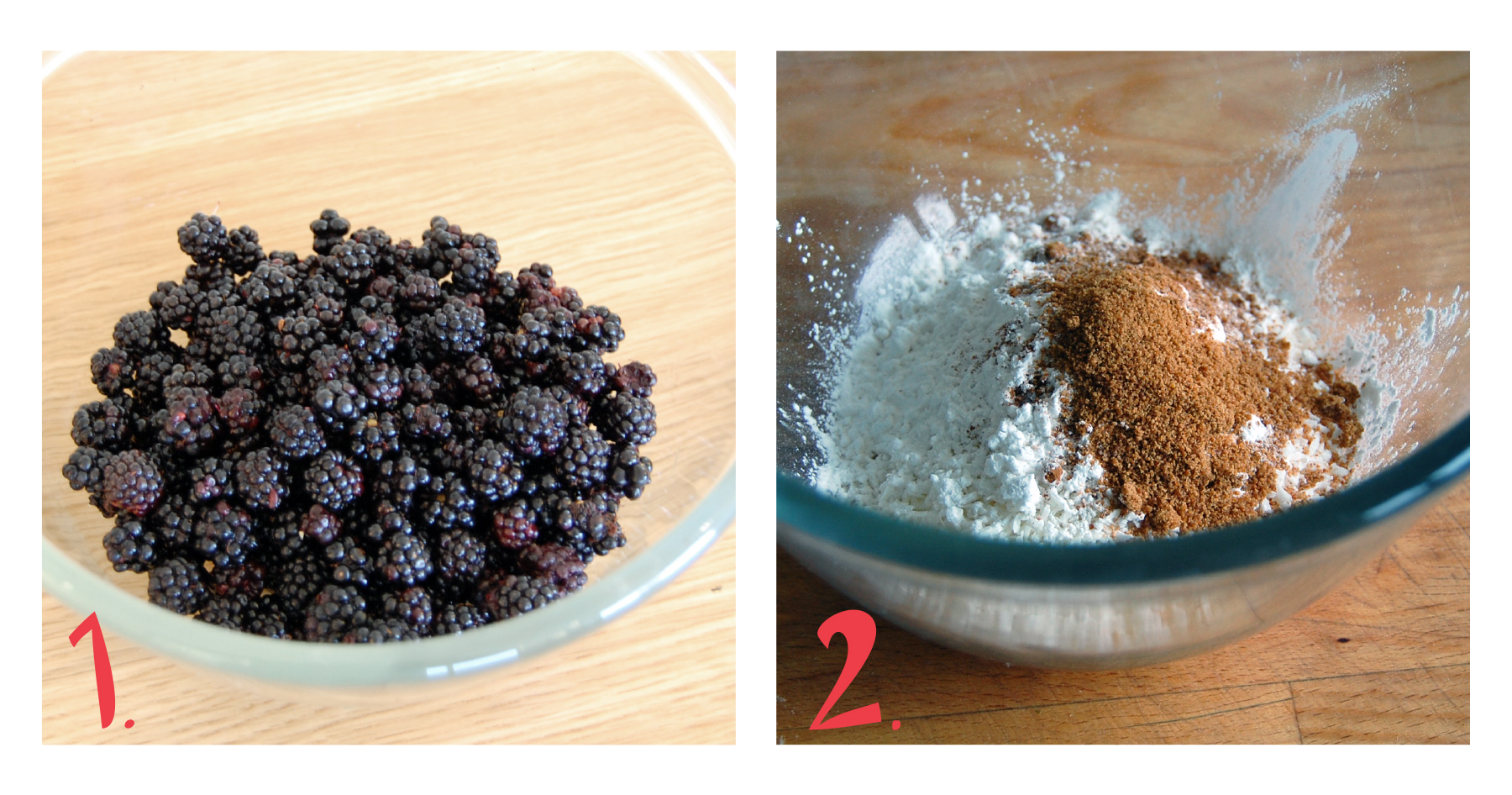 1.  Forage some beautiful wild blackberries! Or pick up some from the local market. Rinse them well. (Preheat your oven to 350°F).   2.  In a separate bowl, mix the shredded coconut, arrowroot powder,coconut sugar, cinnamon and salt.
