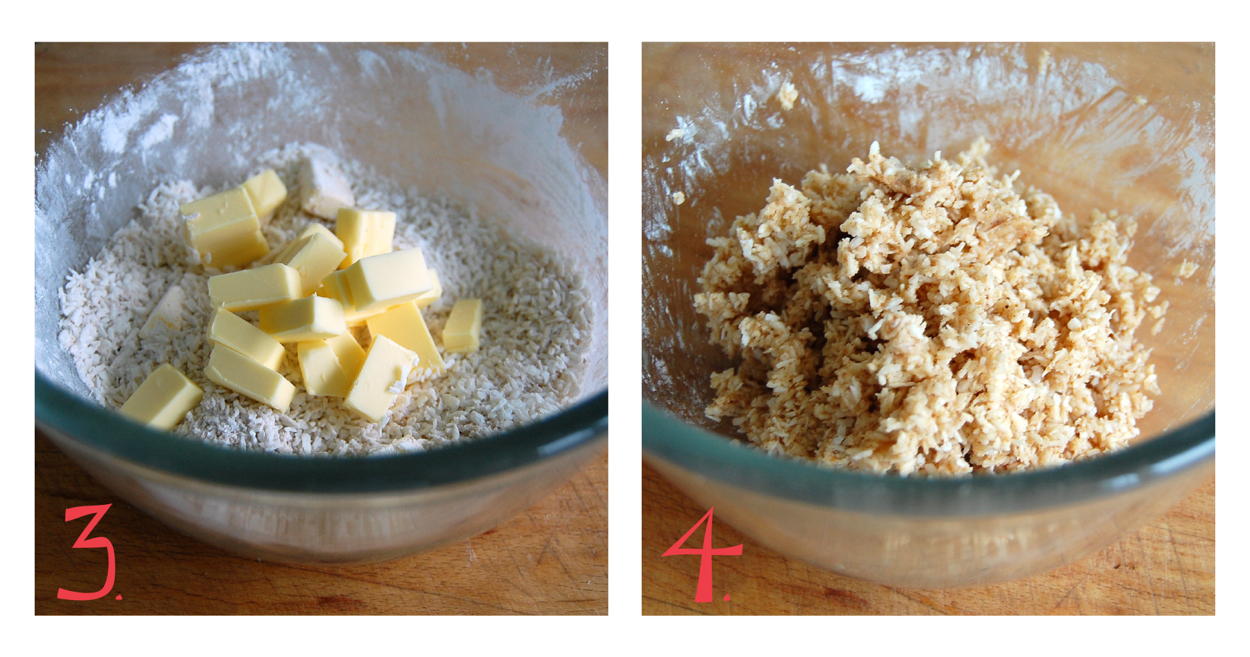 3.  Once your dry ingredients are mixed well, add the chilled butter cubes.   4.  Mix the butter into your dry mix with your fingers until all the butter is combined. Your topping is ready to go. Set aside for a moment.