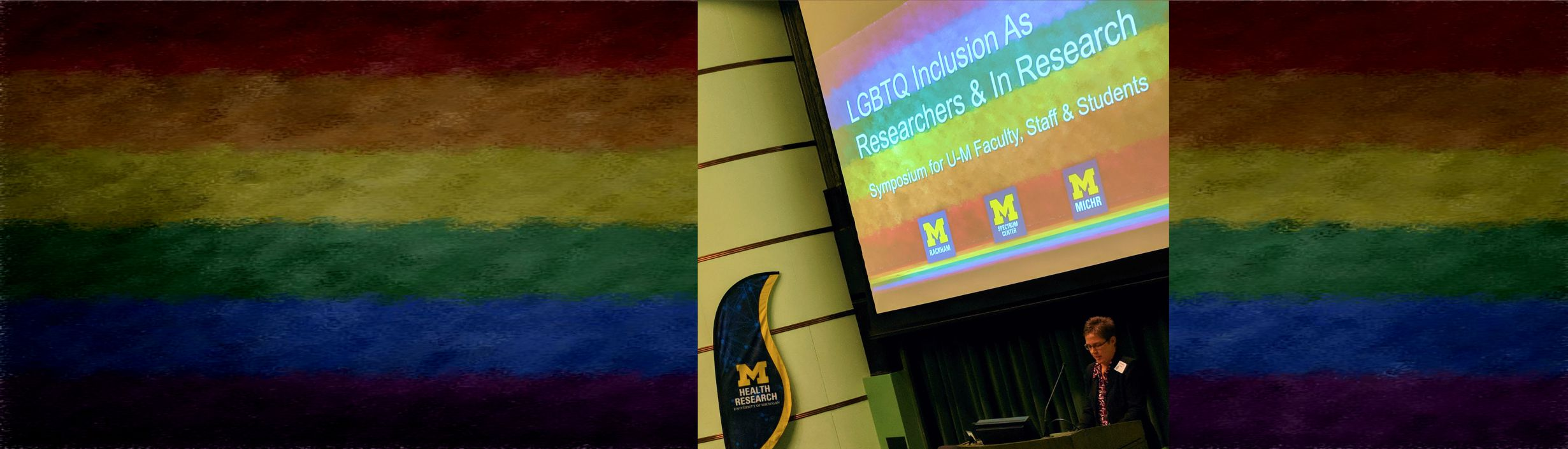 Cortney A. Turner, Assistant Research Scientist and Convener, U-M LGBTQ Faculty Alliance, speaks at the event.