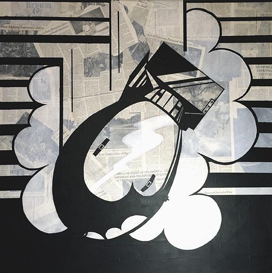 """""""Nagasaki"""", Acrylic and Mixed Media on Canvas, 36"""" x 36"""", 2015"""