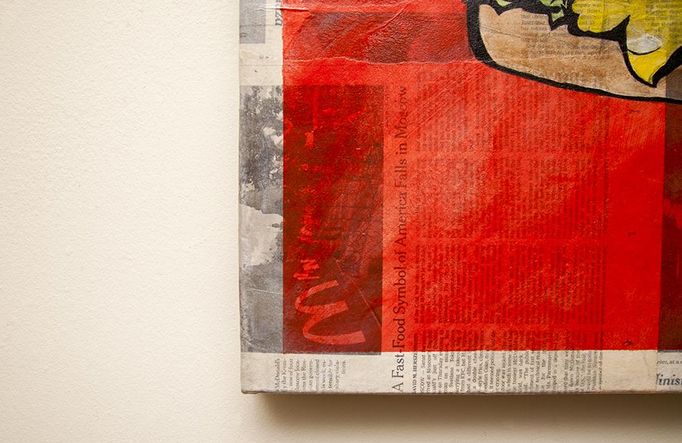 "Palate Dysmorphia I (Detail), Acrylic and Mixed Media (Newspaper) on Canvas, 24"" x 24"", 2015"