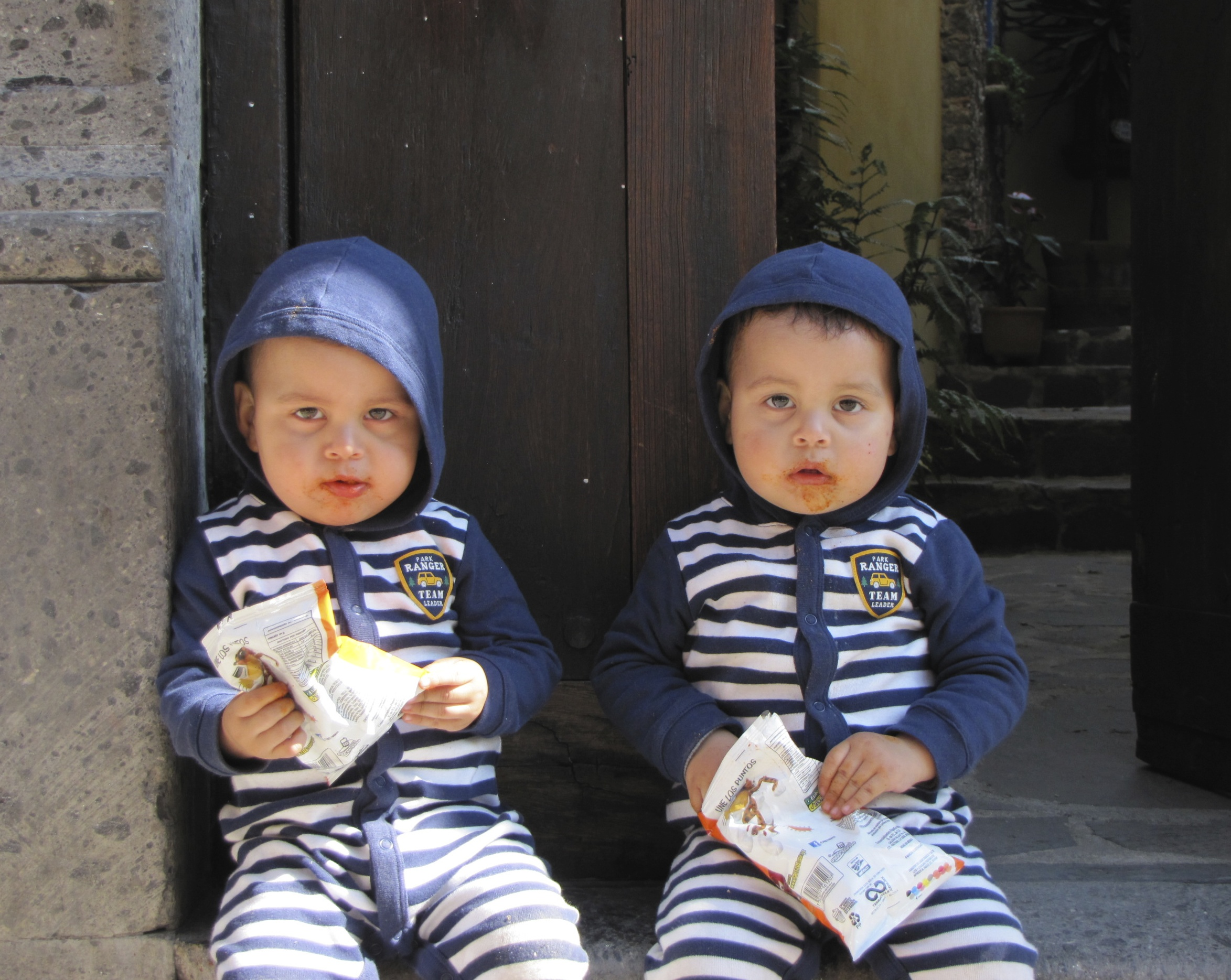Twins outside our door! So cute even though the chips were, well....JPG