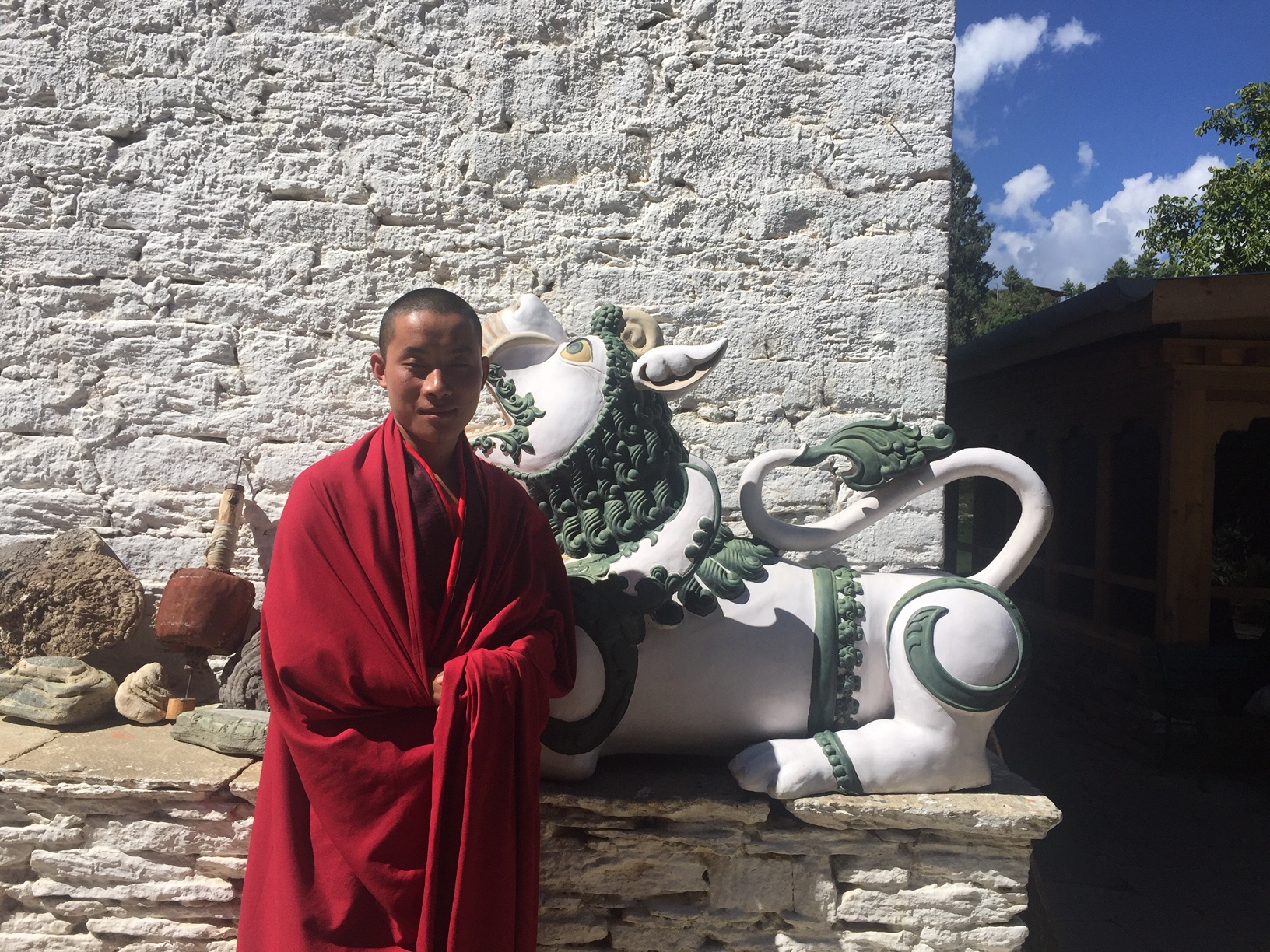 Buddhist Monk at the Gangtey Palace in Paro