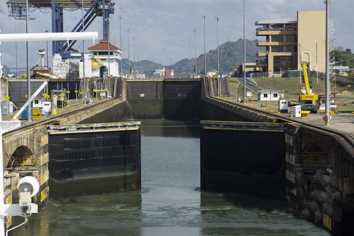 Panama Canal locks opening