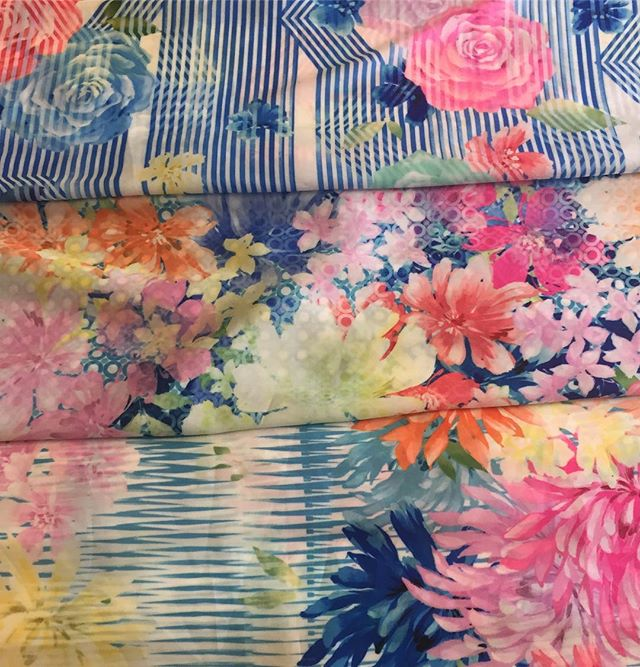 It's cloudy outside but looking at these bright painterly florals is adding some sunshine to the day.  We printed these original designs  right here in our NYC studio on our sublimation printers.  To schedule an appointment to see our original print collection or learn more about our digital fabric printing services please email us at creativeservices@stylecouncil.com . #sublimationprintingnyc #painterlyflorals #textiledesignstudio #nyctextiledesigners #studiolife #floralsunshine #floralsontexture #nycsublimationprinting #brightflorals #originalprintcollection #fastsampleyardage #quickturnaround