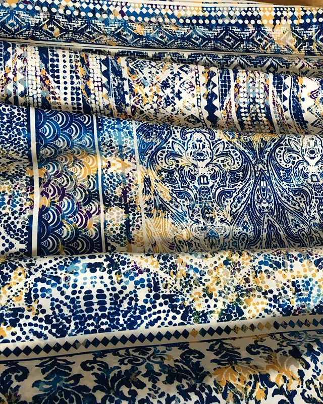 Some summer prints fresh off of our sublimation printer getting ready for a trip to LA  next week with @periscope_art . The blue and yellow texture group is making us think of the bright yellow sun in the blue summer sky and feeling very happy!  #textiledesignstudio #studiolife #nycdesignstudio #lovetextiledesign #nycsublimationprinting #originalprintcollection #cadservicework #digitalfabricprintingnyc