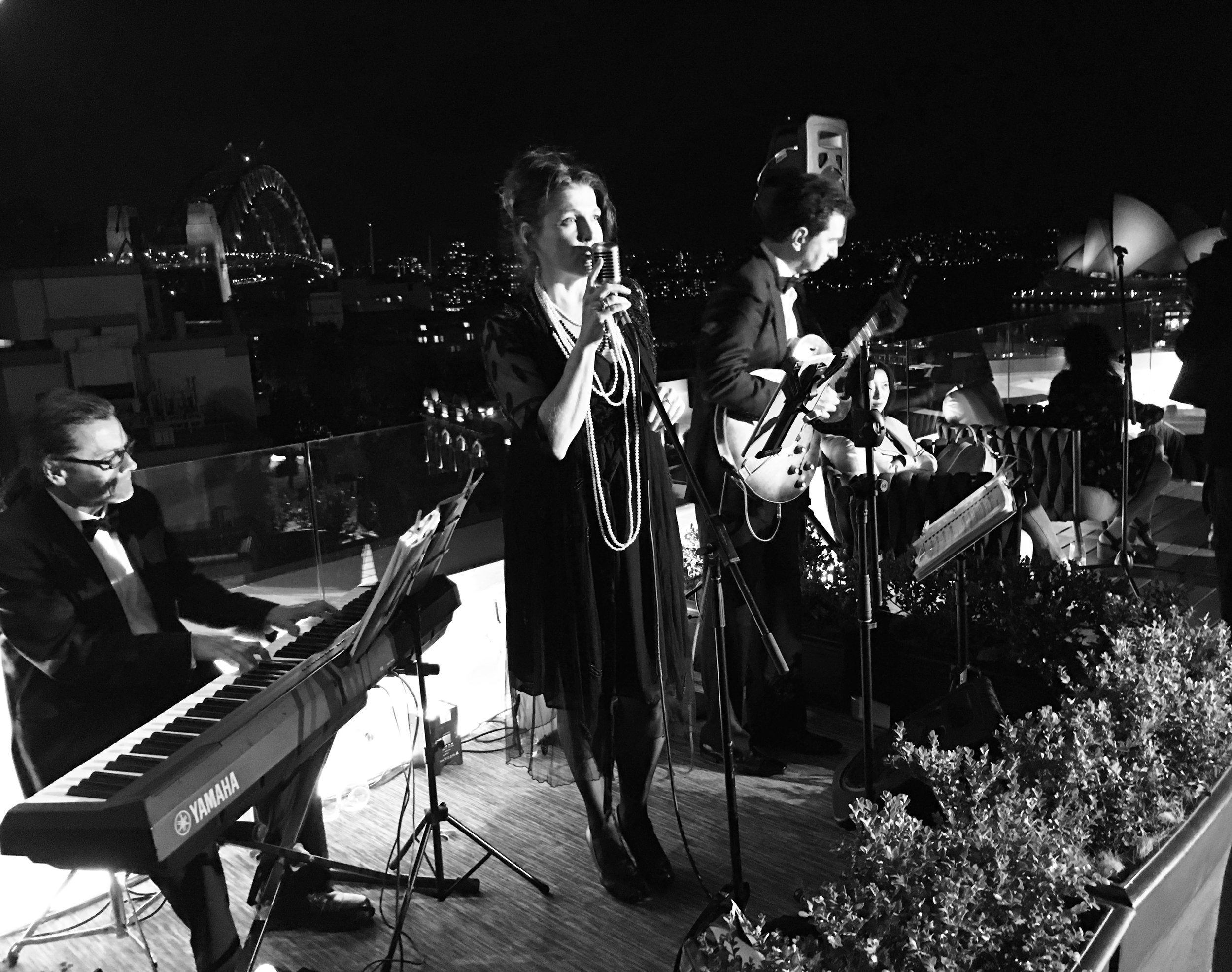 Great fun to play a 1920s themed event on a rooftop at the rocks in Sydney. so many great songs from that era - think great gatsby - and so many beads!