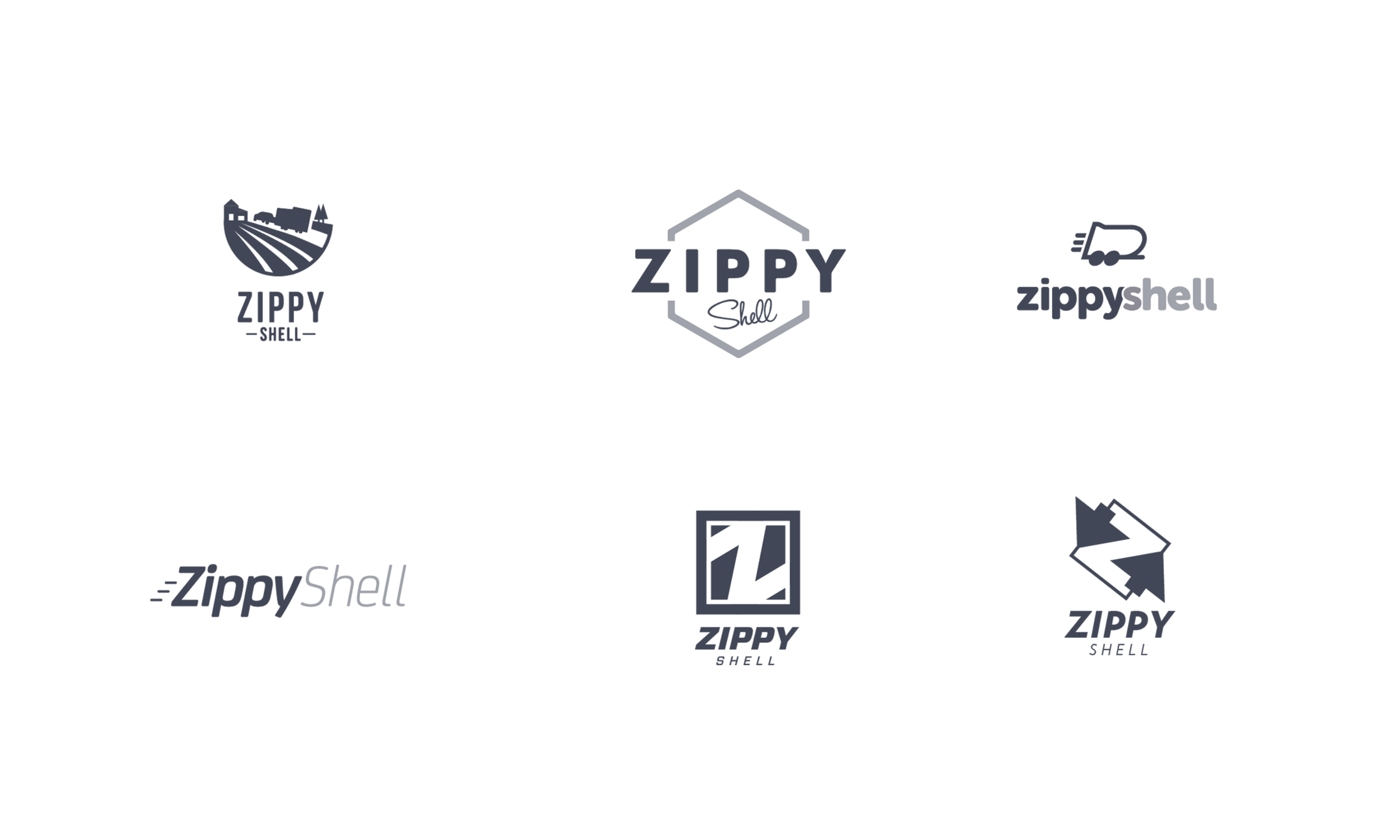 These are the initial logo concepts we presented to Zippy Shell's leadership.