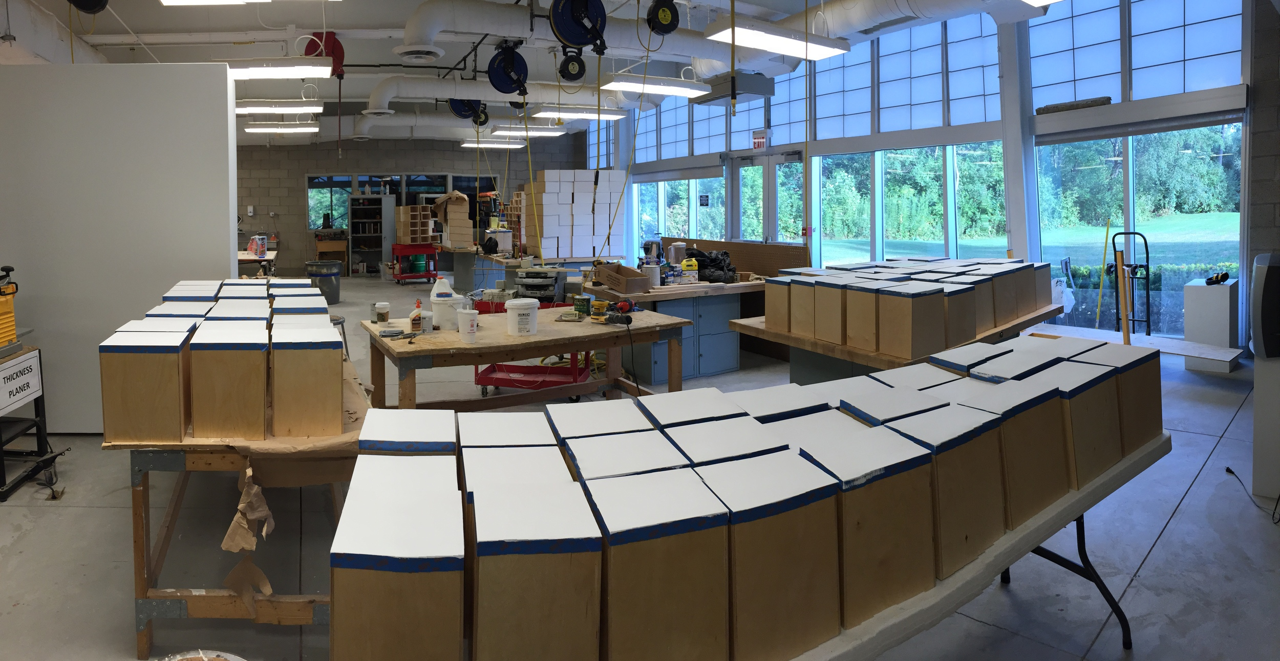 310 panels:One more coat of gesso and they are ready for Galesburg.
