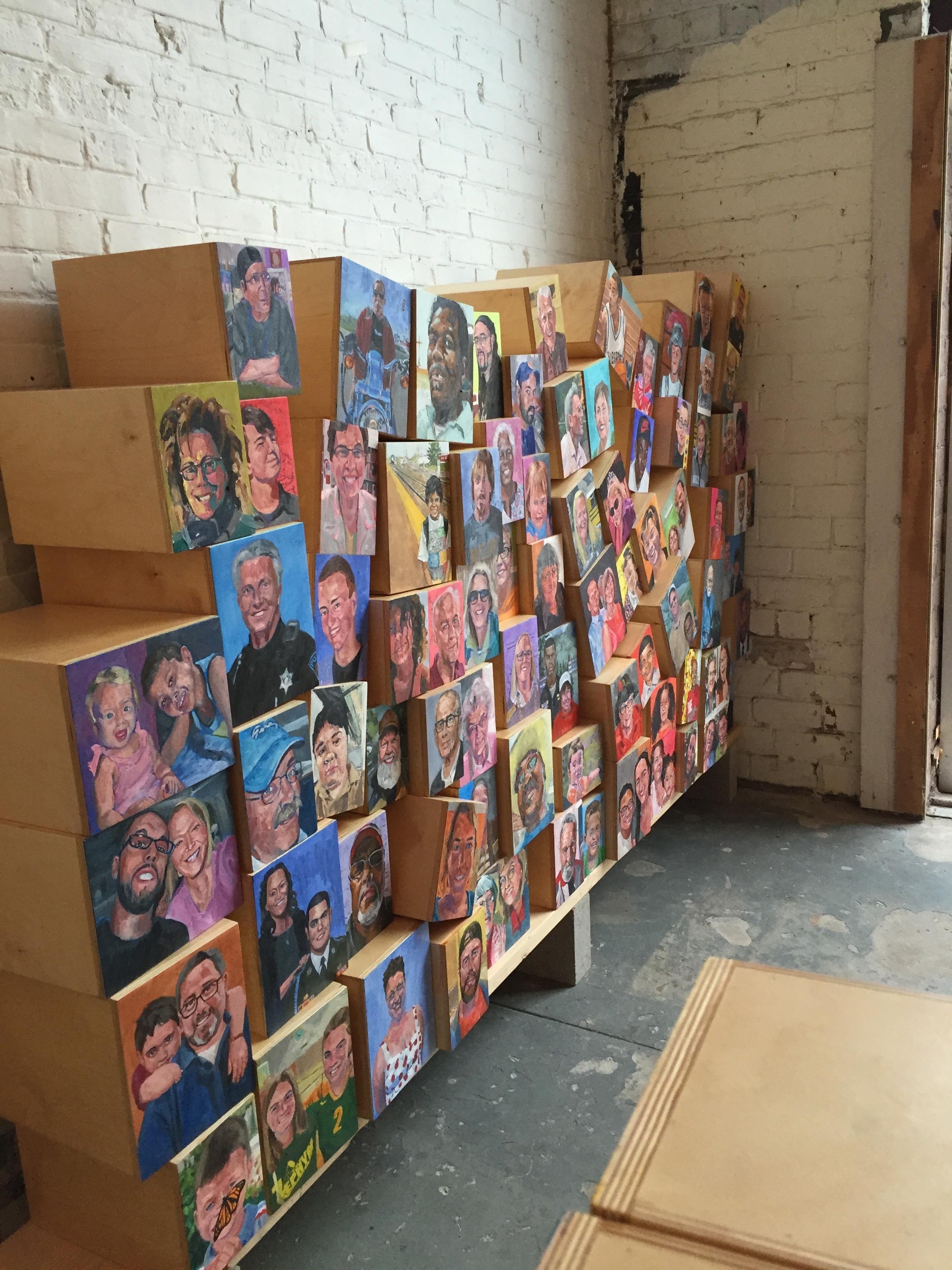 The in-progress installation at the box, Kellogg at Simmons.