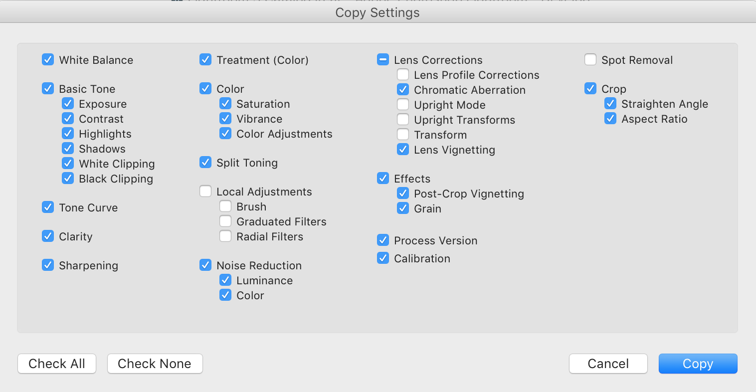 "These are the settings I copy for this process. If you're only messing with color correction, you can also hit ""check all"" and you'll be fine!"