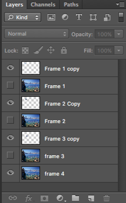 Turning  layers  on and off. This is how your layers panel should look after completing step 7.