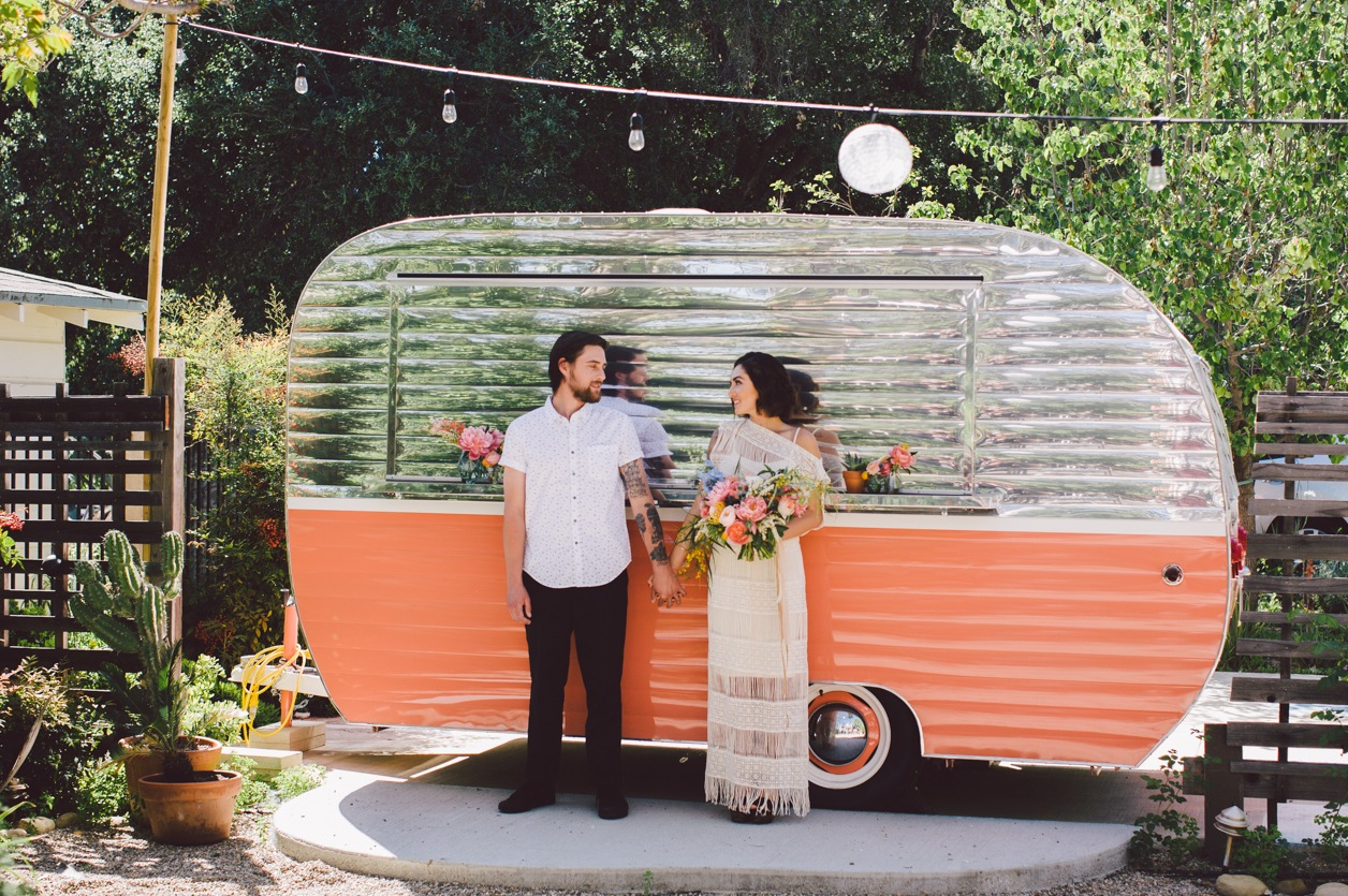 Tipple & Ramble Edgy Ojai Elopement in front of a vintage trailer. Planning & Design: Art & Soul Events