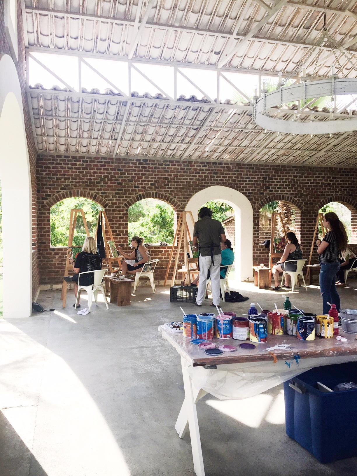 Live Art Class in the Reception & DJ Area