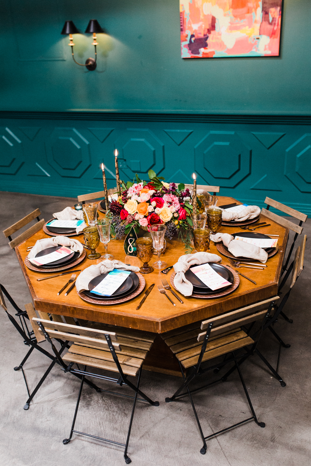 Bold and Moody, Art & Soul Events Wedding Design, Black Plates, The Fig House