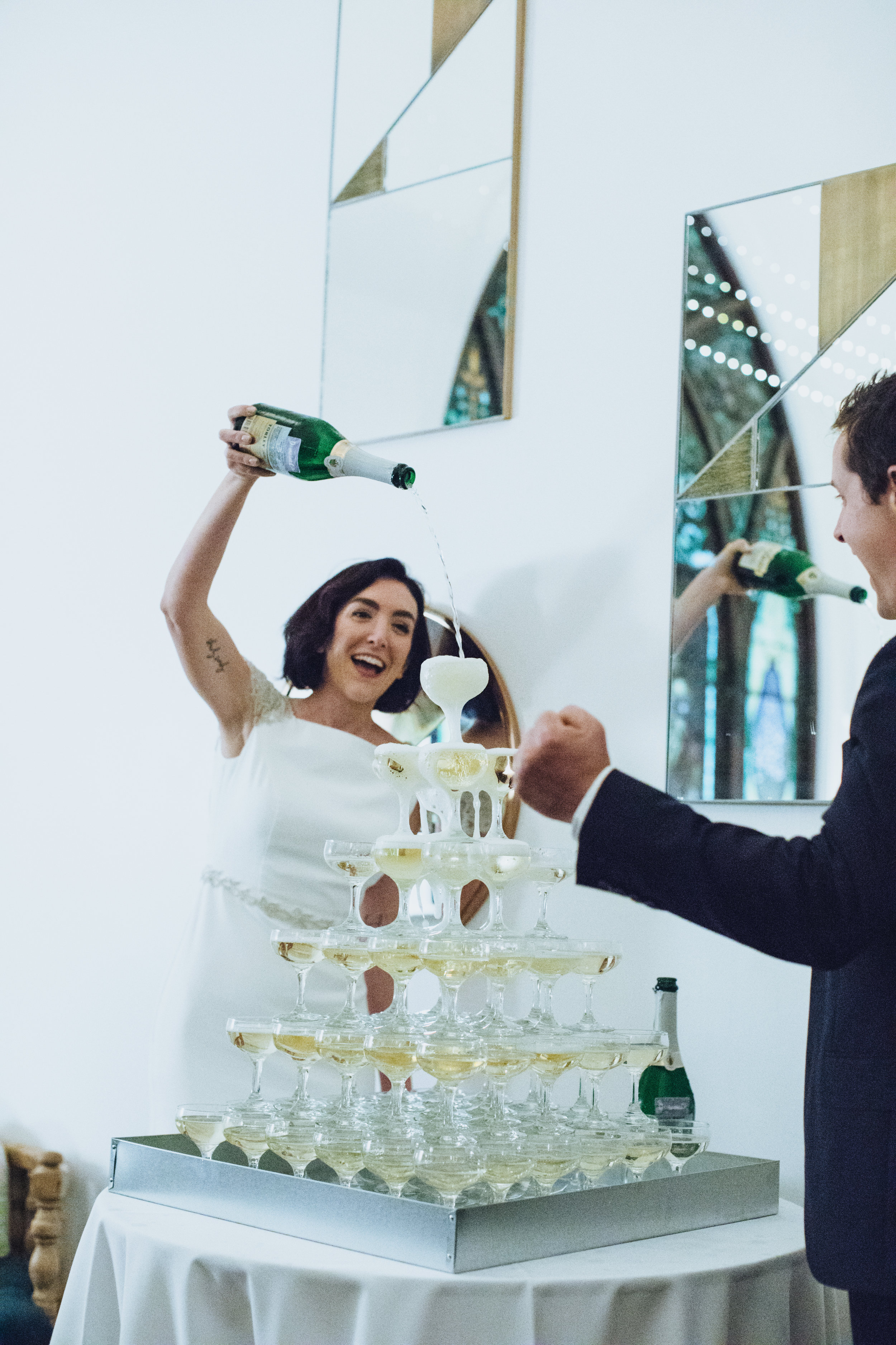 Whitney Adam's Wedding- Champagne Tower- Art & Soul Events, Photographer: Rad + In Love, The Ruby Street Wedding Venue
