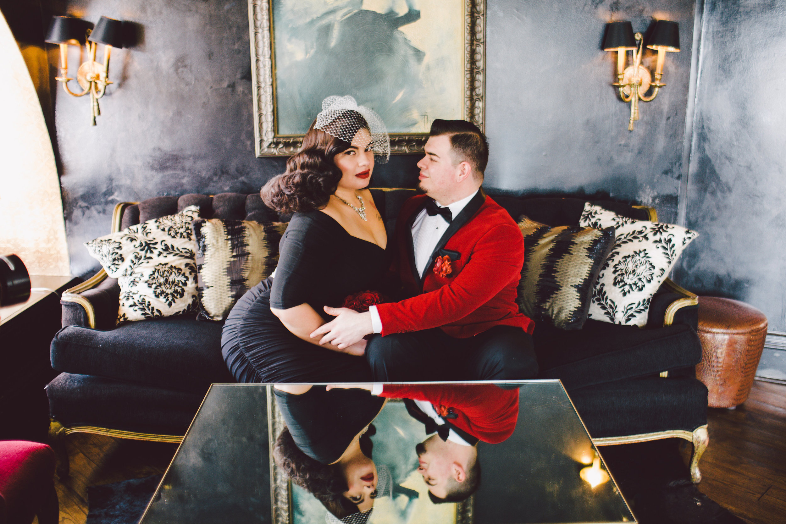 Old Hollywood Elopement, Culver Hotel, Planning by Art & Soul Events, Vintage bride in a black wedding dress, Evangeline Lane Photo