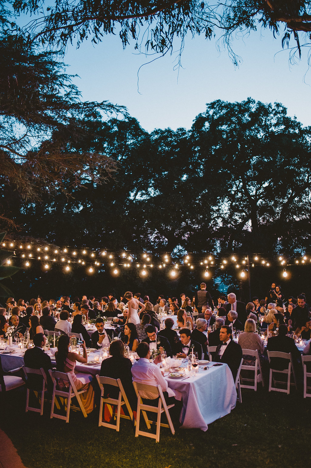 Paramour Estate Wedding, Upper Lawn All White Modern, Minimal, & Romantic Black Tie Dinner Reception at Paramour Mansion, Los Angeles Venue, Planning by Art & Soul Events, EP Love Photography, Alfresco Dining under bistro lights