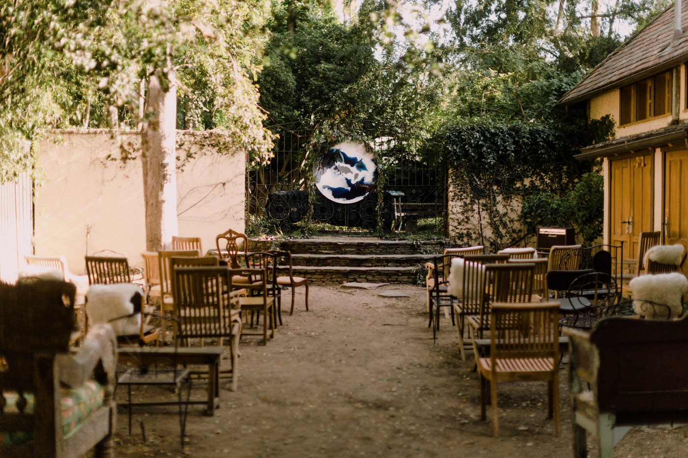 Magical Secret Garden Wedding Ceremony, Art & Soul Events, Moon / Earth Greenery Garland Altar, Unique Los Angeles Wedding