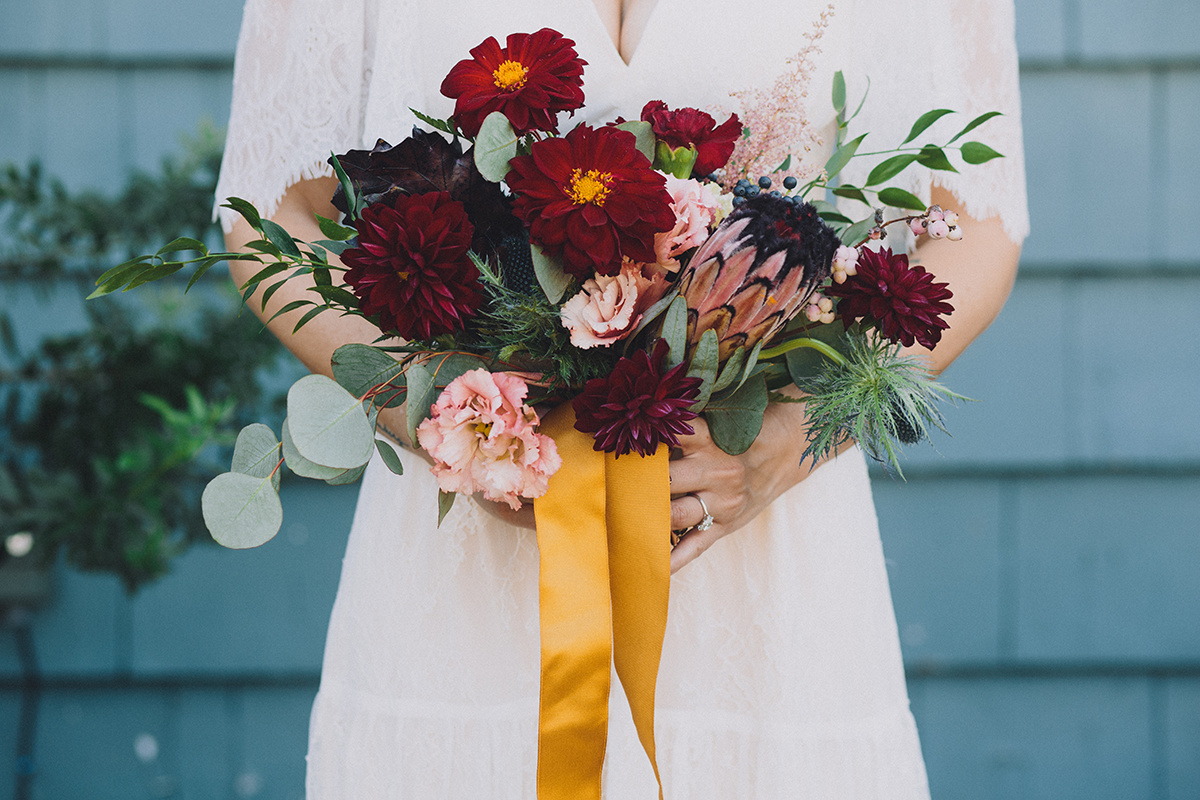 Merlot dahlias, deep green foliage, pink & cream accent blooms, Bold Wedding Bouquet, Art & Soul Events, Mandee Johnson Photography