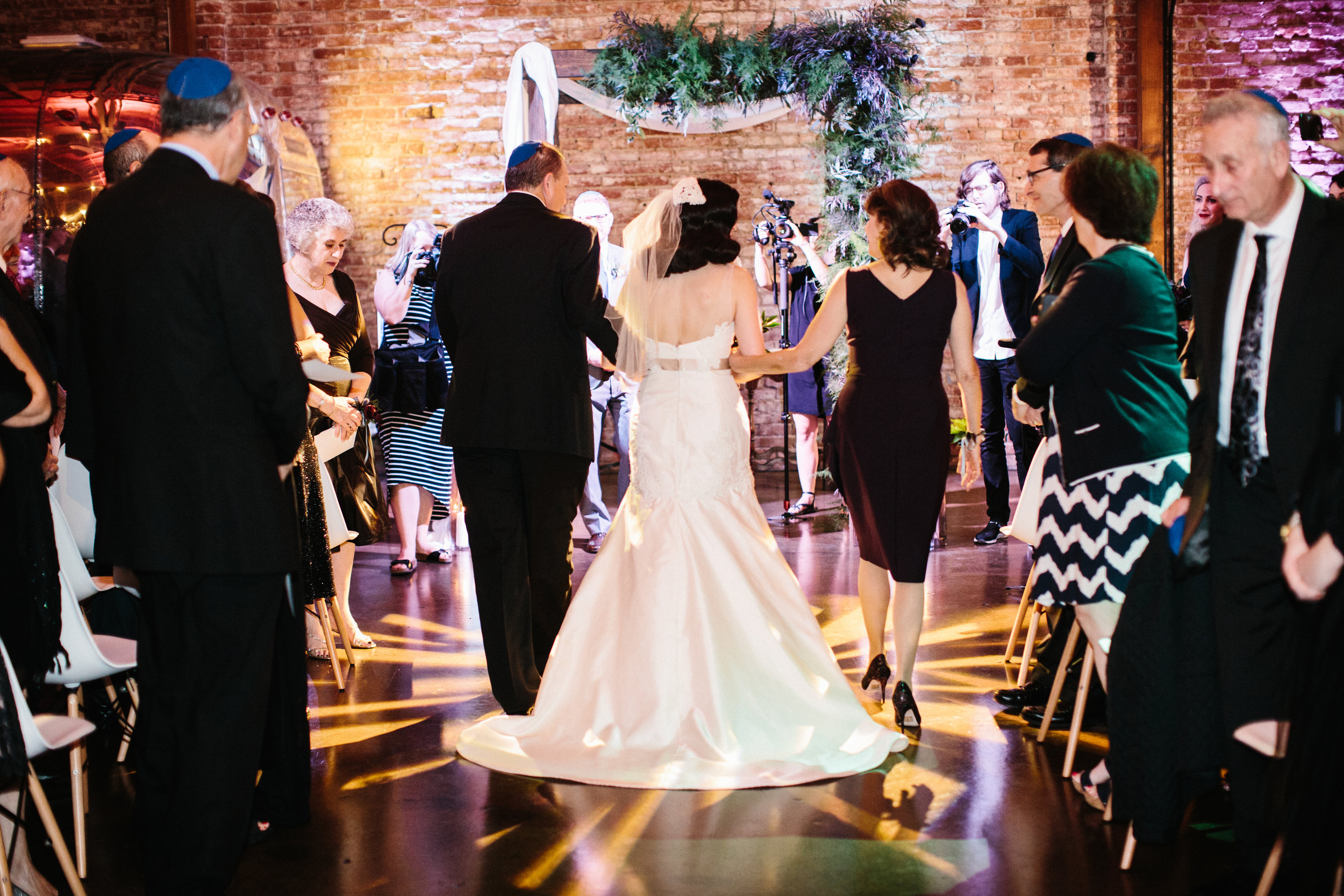 Bride's Processional at LA River Studios, Photographer: Our Labor of Love, Floral Design: Whit Hazen